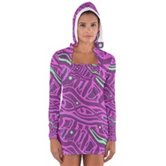 Purple And Green Abstract Art Women s Long Sleeve Hooded T Shirt