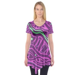 Purple and green abstract art Short Sleeve Tunic