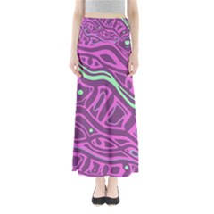 Purple and green abstract art Maxi Skirts