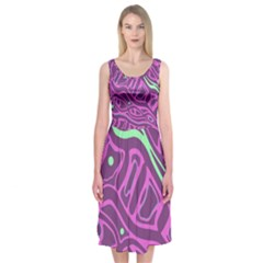 Purple and green abstract art Midi Sleeveless Dress