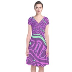 Purple and green abstract art Short Sleeve Front Wrap Dress
