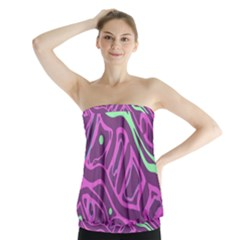 Purple and green abstract art Strapless Top