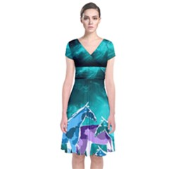 Horses under a galaxy Short Sleeve Front Wrap Dress