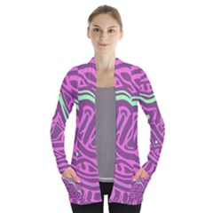 Purple and green abstract art Women s Open Front Pockets Cardigan(P194)