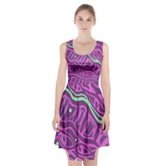 Purple and green abstract art Racerback Midi Dress