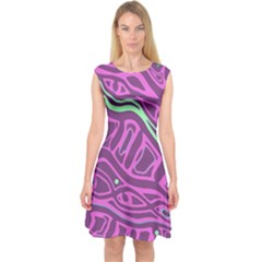 Purple and green abstract art Capsleeve Midi Dress
