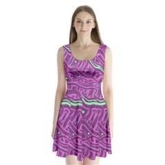 Purple and green abstract art Split Back Mini Dress