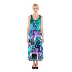 Horses under a galaxy Sleeveless Maxi Dress
