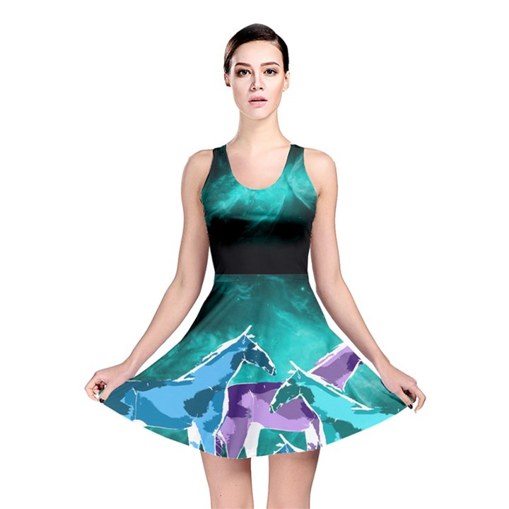 Horses under a galaxy Reversible Skater Dress