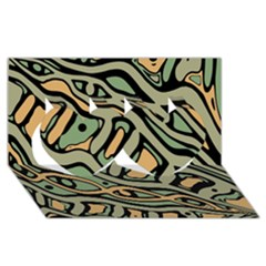Green abstract art Twin Hearts 3D Greeting Card (8x4)