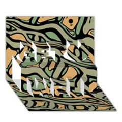 Green abstract art Get Well 3D Greeting Card (7x5)