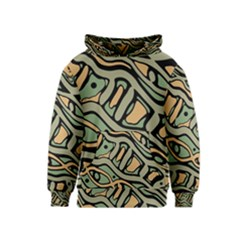 Green abstract art Kids  Pullover Hoodie