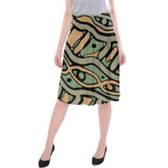Green abstract art Midi Beach Skirt