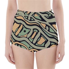 Green Abstract Art High Waisted Bikini Bottoms