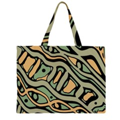 Green abstract art Zipper Large Tote Bag