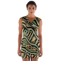Green abstract art Wrap Front Bodycon Dress