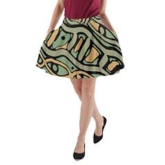Green abstract art A-Line Pocket Skirt