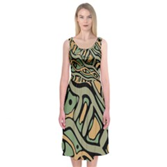 Green Abstract Art Midi Sleeveless Dress