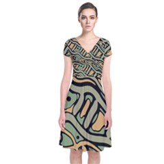 Green abstract art Short Sleeve Front Wrap Dress