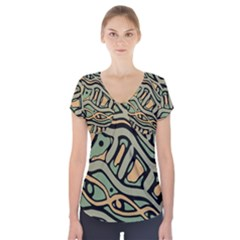 Green Abstract Art Short Sleeve Front Detail Top