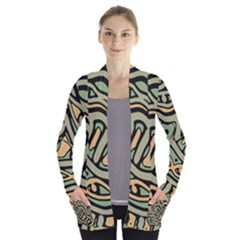 Green abstract art Women s Open Front Pockets Cardigan(P194)
