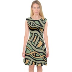 Green abstract art Capsleeve Midi Dress