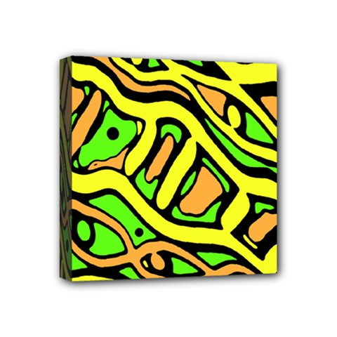 Yellow, green and oragne abstract art Mini Canvas 4  x 4