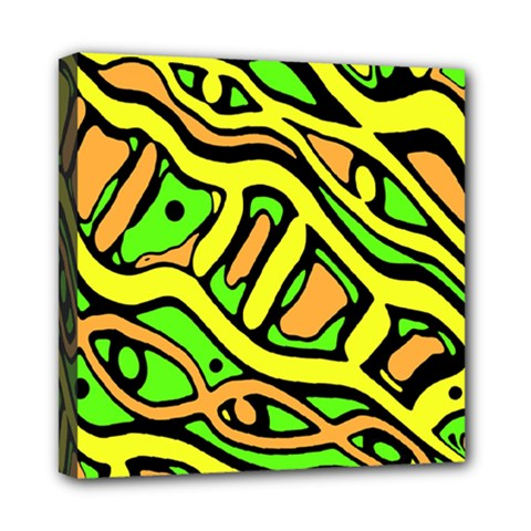 Yellow, green and oragne abstract art Mini Canvas 8  x 8