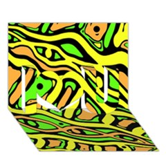 Yellow, green and oragne abstract art I Love You 3D Greeting Card (7x5)