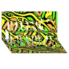 Yellow, green and oragne abstract art Happy Birthday 3D Greeting Card (8x4)