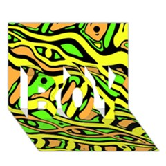 Yellow, green and oragne abstract art BOY 3D Greeting Card (7x5)