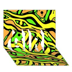 Yellow, green and oragne abstract art GIRL 3D Greeting Card (7x5)