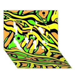Yellow, green and oragne abstract art LOVE 3D Greeting Card (7x5)