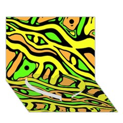 Yellow, green and oragne abstract art Heart Bottom 3D Greeting Card (7x5)