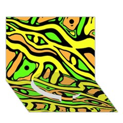 Yellow, green and oragne abstract art Circle Bottom 3D Greeting Card (7x5)