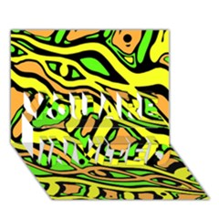 Yellow, green and oragne abstract art YOU ARE INVITED 3D Greeting Card (7x5)