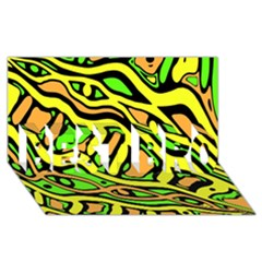 Yellow, green and oragne abstract art BEST BRO 3D Greeting Card (8x4)