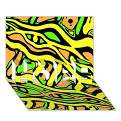 Yellow, green and oragne abstract art HOPE 3D Greeting Card (7x5)