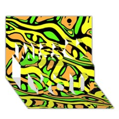 Yellow, green and oragne abstract art Miss You 3D Greeting Card (7x5)
