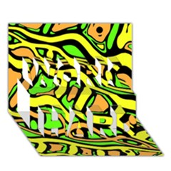 Yellow, green and oragne abstract art WORK HARD 3D Greeting Card (7x5)