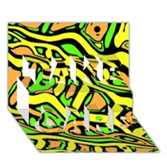 Yellow, green and oragne abstract art TAKE CARE 3D Greeting Card (7x5)