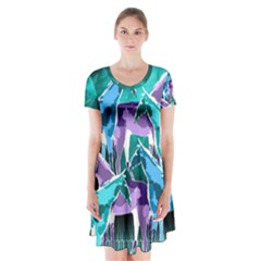 Horses under a galaxy Short Sleeve V-neck Flare Dress
