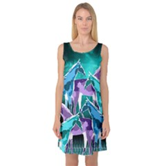 Horses Under A Galaxy Sleeveless Satin Nightdress