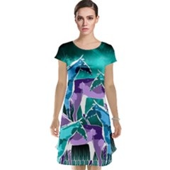 Horses under a galaxy Cap Sleeve Nightdress