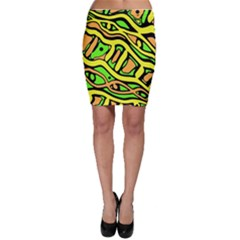 Yellow, green and oragne abstract art Bodycon Skirt