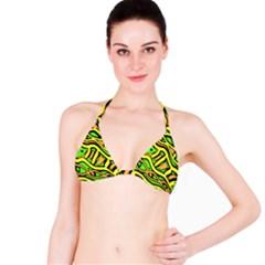 Yellow, green and oragne abstract art Bikini Top