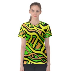 Yellow, green and oragne abstract art Women s Sport Mesh Tee