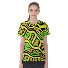 Yellow, green and oragne abstract art Women s Cotton Tee