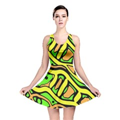 Yellow, green and oragne abstract art Reversible Skater Dress