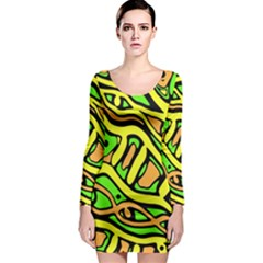 Yellow, green and oragne abstract art Long Sleeve Bodycon Dress